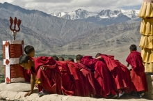 On the rooftop of the Thiksey Gompa, Ladakh, India.