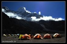 Moonlit night in the Ama Dablam Base Camp, Himalaya, Nepal.